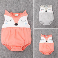 0-24M Newborn Baby Clothes Cute Cartoon Fox Bodysuit Summer Sleeveless Infant Kids Baby Body Clothes Onesuits Bodysuits