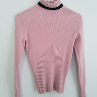 Cache Women's Pink Turtleneck Sweater SMALL, Silk/Spandex Ribbed Pink & Black