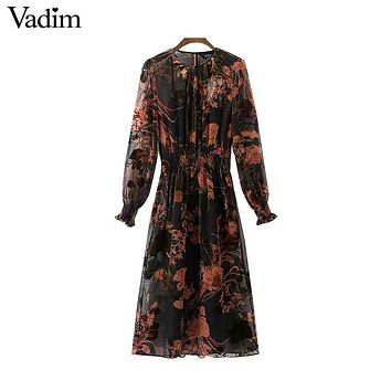 Vadim vintage floral pattern chiffon maxi long dresses see through two pieces set long sleeve elastic waist chic vestidos QZ3223