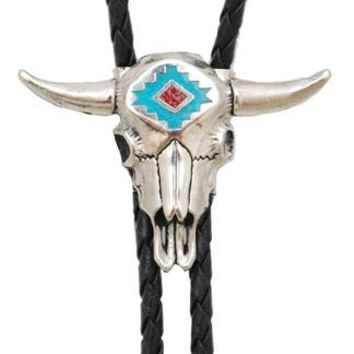 Steerhead Bolo Tie with Turquoise and Coral Inlay Made in the USA
