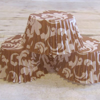 24 Brown and White Damask Cupcake Liners, Cupcake Papers