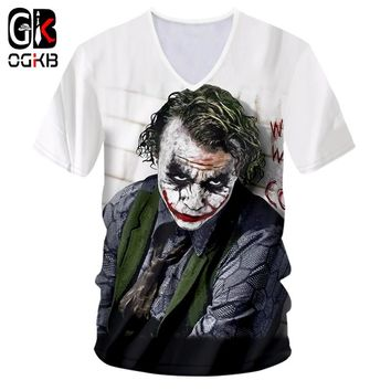 OGKB Sexy Deep V Neck Tshirt For Women/men Cool Print Suicide Squad 3D T-shirt Funny Joker T Shirts Unisex Fitness Casual Tees