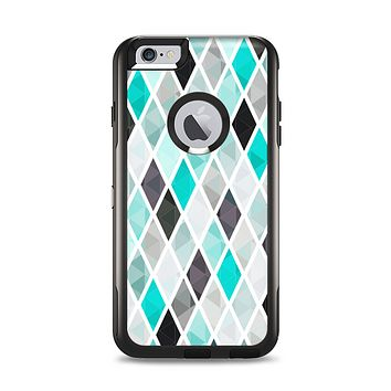 The Graytone Diamond Pattern with Teal Highlights Apple iPhone 6 Plus Otterbox Commuter Case Skin Set