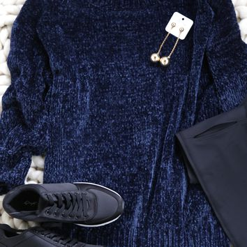 One Thing Chenille Sweater, Navy