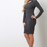 Ribbed Knit Button Long Sleeves Bodycon Midi Dress