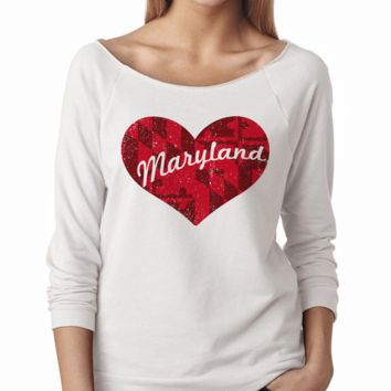 Maryland in My Heart (White) / Ladies Raglan Sleeve Shirt