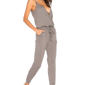 Bobi Supreme Jersey Surplice Jumpsuit in Stone