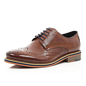 River Island MensBrown leather formal color heel brogues