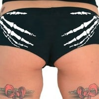 Sik World SKELETON HANDS Womens Glow In The Dark Boy Shorts (Large, Black)