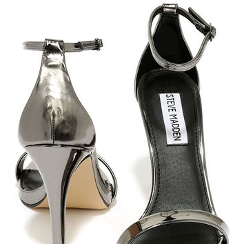 Steve Madden Stecy Pewter Ankle Strap Heels