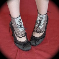 Black Tie Tatted Spat Ankle Corset by TotusMel on Etsy