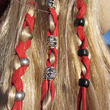 2 Leather Hair Wraps Hair Tie Ponytail Holders Beaded Bead Hair Extensions Bohemian Hair Styles