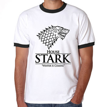 Winter is coming t shirt Men Short Sleeve Cool Tee Shirts Game of Thrones The House of Stark Winterfell Wolf t-shirts