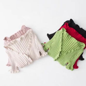 Women sexy V-neck Ruched Edge slinky buttons lace Knitted short sleeve t-shirt summer bustier crop top Casual Slim Knitwear shor