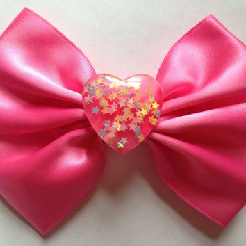Hot Pink Heart Hair Bow Confetti Stars Kawaii Fairy Kei Harajuku
