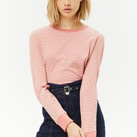 Striped Contrast-Trim Top