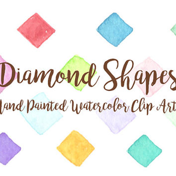 Diamond shapes pattern Watercolor Clip Arts element Digital paper Files Party Wedding Invitation Printable Download colorful geomatric