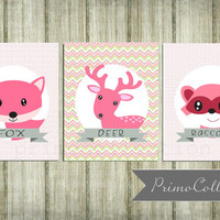 Nursery Wall Art Prints / fox print / 8x10 inch trio / set of three / pink and gray / woodland animals / for baby girl room decor
