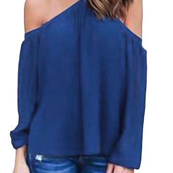 Blue Long Sleeve Off Shoulder Halter Top
