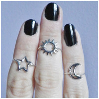 Set of Three midi knuckle rings, sun, moon and star