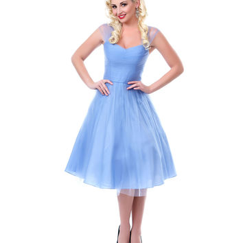 Periwinkle Blue Garden State Mesh Cocktail Dress - Unique Vintage - Prom dresses, retro dresses, retro swimsuits.
