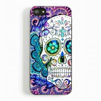 Colourful Mandala Sugar Skull Flowers for iphone 5 and 5c case