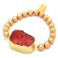 24K Gold Plated Berry Agate Druzy Stone with Gold Swarovski® Crystal Pearls Bracelet