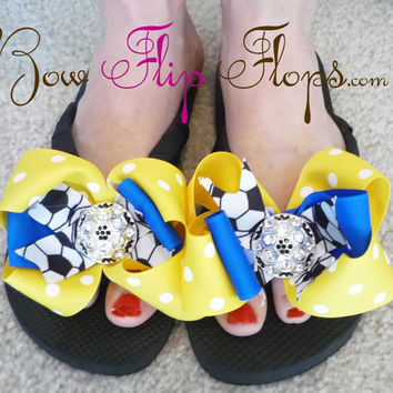 Soccer Bling  Flip Flops Bow Bling Rhinestone Buckle Player Mom Girl Boutique Sports Ribbon Flip Flops choose your ribbon and team colors