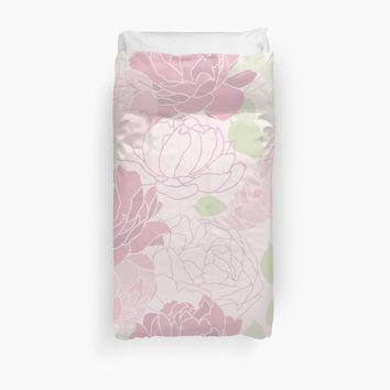 'Abstract Pink Peony Pattern' Duvet Cover by UtArt