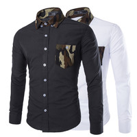 Camouflage Detailed Slim Fit Men's Shirt