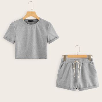 Heather Gray Crop Top and Drawstring Waist Shorts