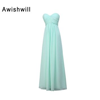 100% Real Picture Corset Back Ruched Chiffon Floor Length Cheap Wedding Party Dress Aqua Color Bridesmaid Dresses Long