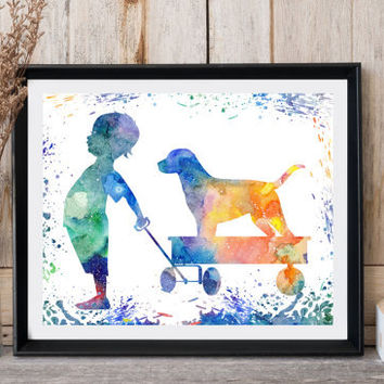 Labrador print Boy and dog Nursery wall decor Dog art Woodland nursery  Printable dog Kids room decor Baby room Instant download Digital art