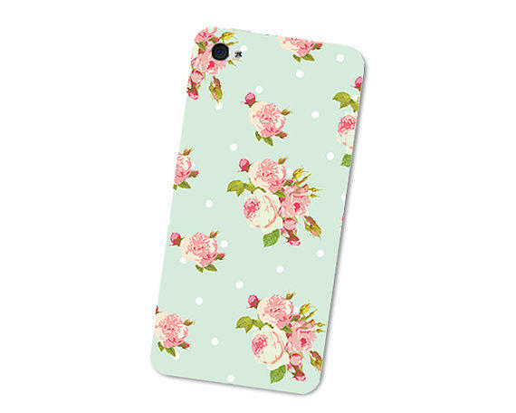 Pastel Pink and Mint Green Floral iPhone 4S Skin: Mint iPhone 4 Skin Decal - Mint Green Cell Phone iPhone Skin - Flowers iPhone Decal