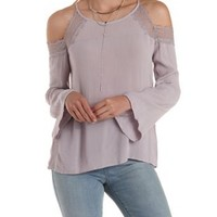 Lilac Lace-Trim Cold Shoulder Top by Charlotte Russe