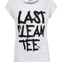 Teens White Last Clean Tee Slogan T-Shirt