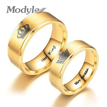 Modyle 2018 New Gold Color King And Queen Stainless Steel Crown Couple Rings For Couples Love Promise Rings For Woman