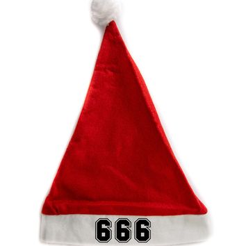 666 Holiday Christmas Hat Santa Cap Red/White Felt w/ Pom Pom Merry Gothmas