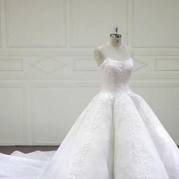 Ball Gown Wedding Dresses Floral Handmade Flowers Royal Train Sleeveless Bridal Gowns