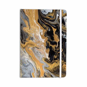 """Catherine Holcombe """"Gold Vein Marble"""" Black Gold Abstract Geological Painting Everything Notebook"""