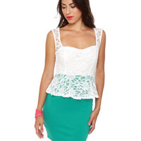 Classic Teal Dress - Lace Dress - Peplum Dress - $37.50