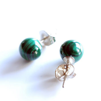 Mini emerald green malachite gemstone 6mm ball stud or post earrings, simple minimalist jewelry in sterling silver