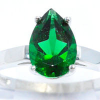 2 Carat Emerald Pear Ring .925 Sterling Silver Rhodium Finish White Gold Quality