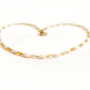 Pearl strand beaded necklace June Birthstone jewelry. Valentines day Mothers day gift idea