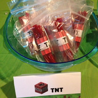 Minecraft Party TNT Birthday Favor Bags