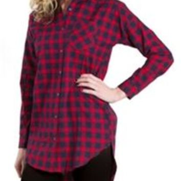 Lumiere Navy and Red Button-Down Plaid Tunic NT15542