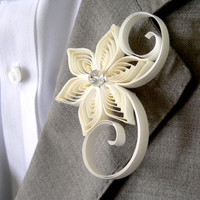 Ivory Boutonniere, Ivory Buttonhole, Ivory Wedding Boutonniere, Mens Wedding Boutonnieres