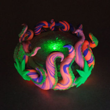 Pink Octopus/Cannabis Glowing Sculpture -glow in the dark, unique, gift for him, cool, stocking stuffer