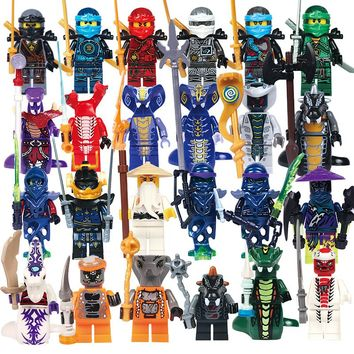 24pcs/lot Compatible Legoed NinjagoINGlys NINJA Heroes Kai Jay Cole Zane Nya Lloyd With Weapons Action Toy ninjago Figure Blocks