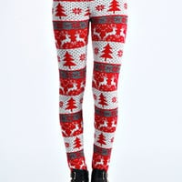 Felicia Dancing Reindeer Knitted Leggings